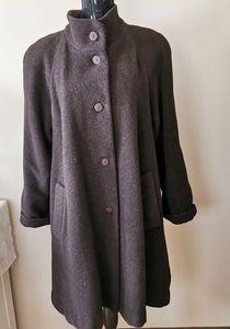 Hilary Radley Brown Wool Blend Swing Coat Size XL